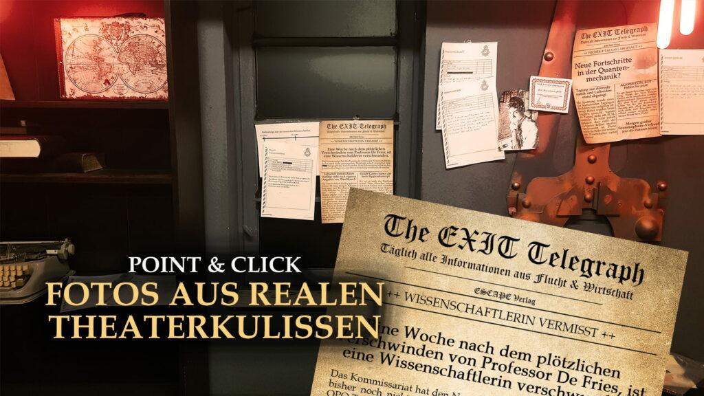 Fotos aus realen Theaterkulissen im Escape Game Online